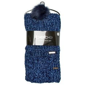 Bebe Chenille Knit Pom Pom Hat & Scarf Set